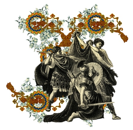 bull fight: Luxurious Victorian initials letter X, after a engraving A bull fight edited by The Graphic - London, circa 1878.