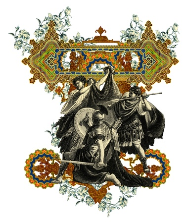 Luxurious Victorian initials letter Z, after a engraving A bull fight edited by The Graphic - London, circa 1878.