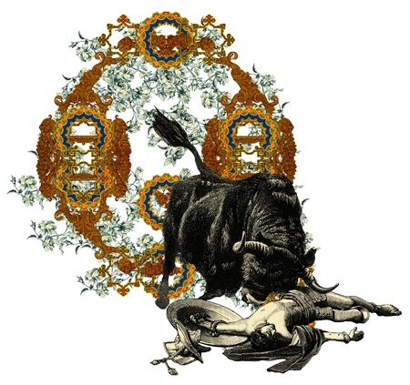 bull fight: Luxurious Victorian initials letter Q, after a engraving A bull fight edited by The Graphic - London, circa 1878.