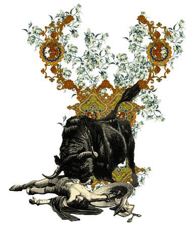bull fight: Luxurious Victorian initials letter Y, after a engraving A bull fight edited by The Graphic - London, circa 1878. Stock Photo