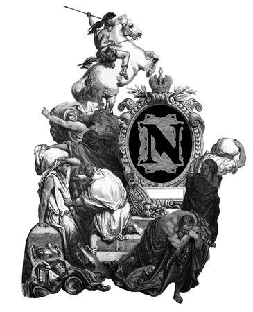 Luxurious Victorian initials letter N, after an engraving by Gustav Dore, Jesus, banishing merchants from the temple, edition of the Holy Bible,Russian Empire, circa 1866. photo