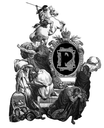 Luxurious Victorian initials letter P, after an engraving by Gustav Dore,