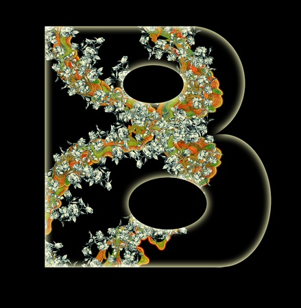 Vintage initials letter B in the style of Art Deco, after a old commercial paper of the Russian Empire, circa 1905. photo