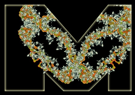 Vintage initials letter M in the style of Art Deco, after a old commercial paper of the Russian Empire, circa 1905. photo