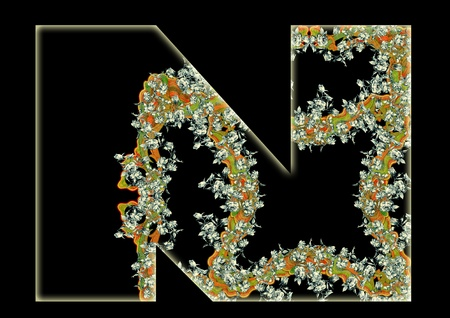 Vintage initials letter N in the style of Art Deco, after a old commercial paper of the Russian Empire, circa 1905. photo