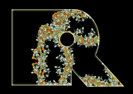 Vintage initials letter R in the style of Art Deco, after a old commercial paper of the Russian Empire, circa 1905. Stock Photo - 13474384