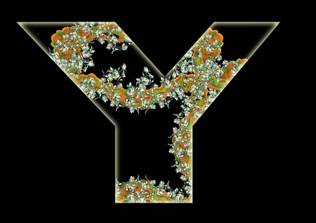 Vintage initials letter Y in the style of Art Deco, after a old commercial paper of the Russian Empire, circa 1905. photo