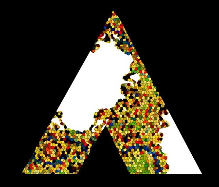 Mosaic letter A. Vector