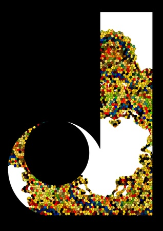 Mosaic letter J  Vector