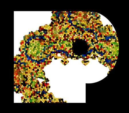 Mosaic letter P  Vector