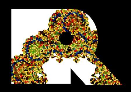 Mosaic letter R  Vector