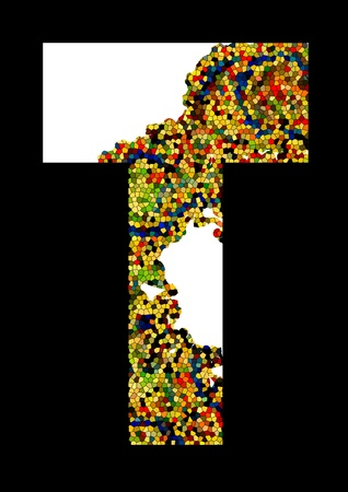 Mosaic letter T  Stock Vector - 13581863