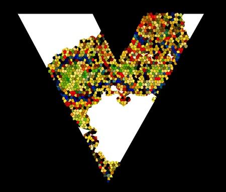 Mosaic letter V Stock Vector - 13581855