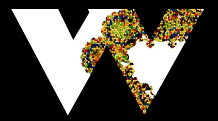 Mosaic letter W  Vector