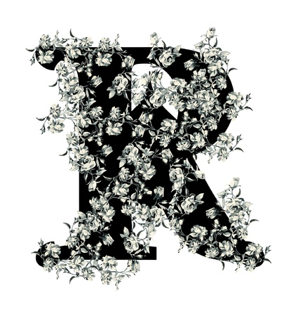 old victorian letter: Capital letter R from flowers in vector.