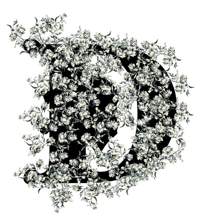 Capital letter D from flowers in vector. Vector