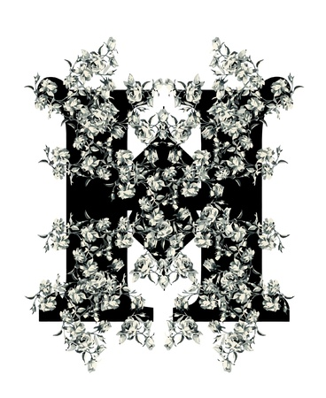 Capital letter H from flowers in vector. Vector