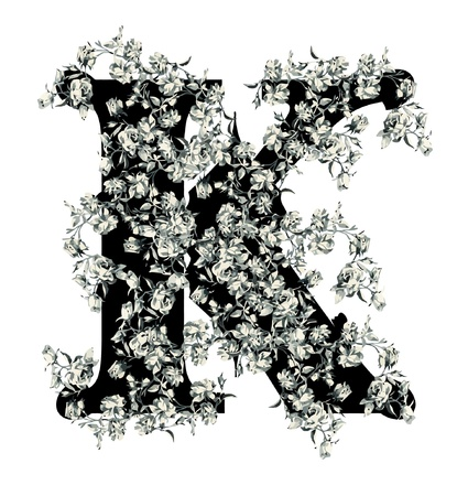 Capital letter K from flowers in vector. Vector