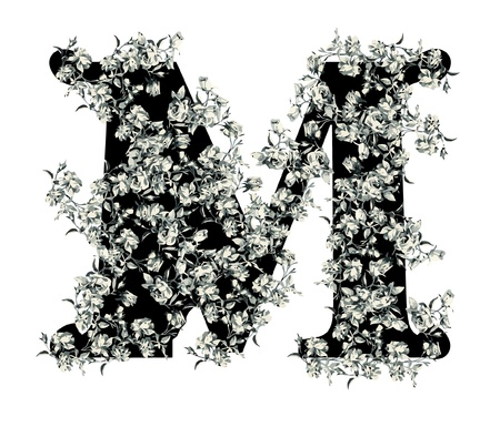 old victorian letter: Capital letter M from flowers in vector.