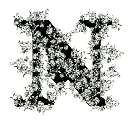 vintage weaving: Capital letter N from flowers in vector.