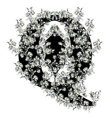 Capital letter Q from flowers in vector. Vector