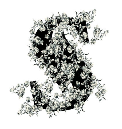 Capital letter S from flowers in vector. Vector