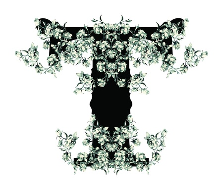 Capital letter T from flowers in vector. Vector