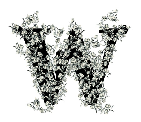 Capital letter W from flowers in vector. Vector