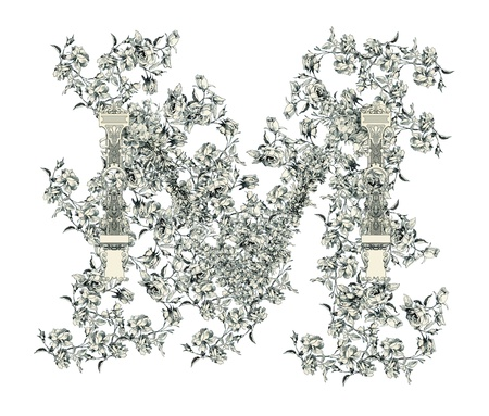 old victorian letter: Capital letter M from flowers in vector  Illustration