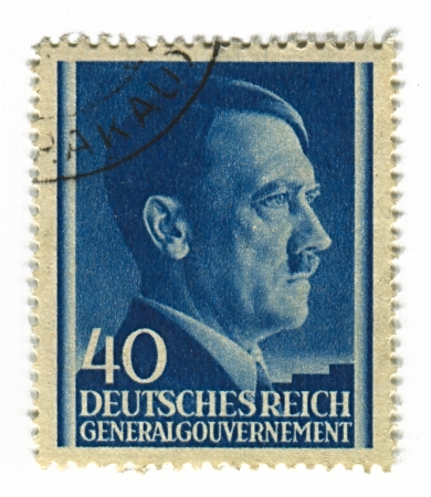 reich: GERMANY - CIRCA 1943: A stamp printed in Germany shows image of Adolf Hitler was an Austrian-born German politician and the leader of the Nazi Party, in blue, circa 1943.