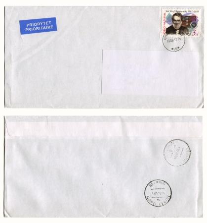 josef: POLAND- CIRCA 2011: Mailing envelope with postage stamps dedicated to Jan Josef Baranowski, and the reverse side, circa 2011.