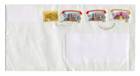 RUSSIA - CIRCA 2012  Mailing envelope with postage stamps dedicated to Russian kremlins and animals, circa 2012