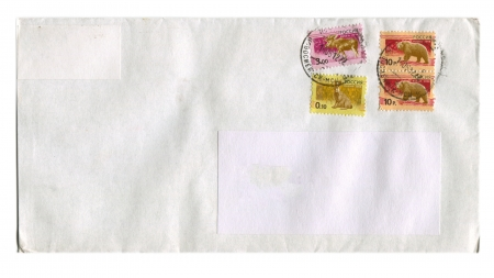 RUSSIA - CIRCA 2012  Mailing envelope with postage stamps dedicated to Rat,Bear and Elk, circa 2012