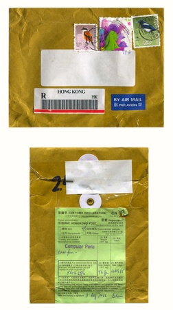 HONG KONG - CIRCA 2012  Mailing envelope with postage stamps dedicated to Birds, and the reverse side, circa 2012
