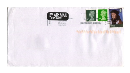 UK - CIRCA 2012: Mailing envelope with postage stamps dedicated to Queen Elizabeth and Henry 7, circa 2012.