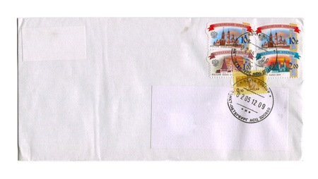RUSSIA - CIRCA 2012: Mailing envelope with postage stamps dedicated to Russian Kremlins and Rat, and the reverse side, circa 2012.