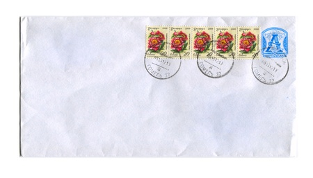 BELARUS - CIRCA 2008: Mailing envelope with postage stamps dedicated to Paeonia Lactiflora Flover,circa 2008.
