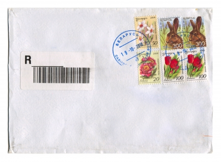 BELARUS - CIRCA 2012: Mailing envelope with postage stamps dedicated to Flovers and Rat, circa 2012.