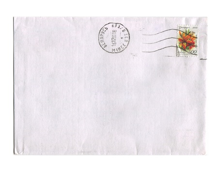 BELARUS - CIRCA 2012: Mailing envelope with postage stamps dedicated to Lilium hibrida, circa 2012.