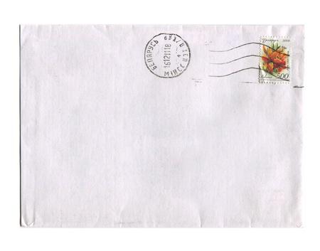 BELARUS - CIRCA 2012: Mailing envelope with postage stamps dedicated to Lilium hibrida, circa 2012. Stock Photo - 15876987