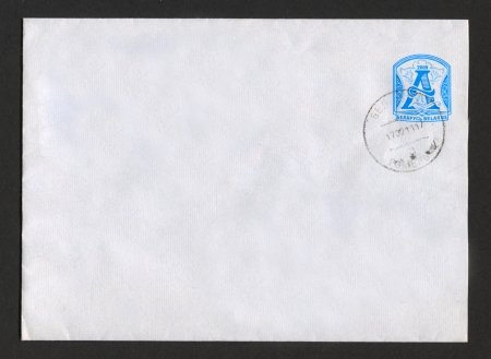 BELARUS - CIRCA 2009: Mailing envelope with postage stamps dedicated to Belarusian Initial Letter A, circa 2009. Stock Photo - 15876989