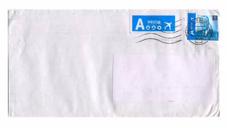BELGIE - CIRCA 2012: Mailing envelope with postage stamps dedicated to Belgian King Albert, circa 2012.