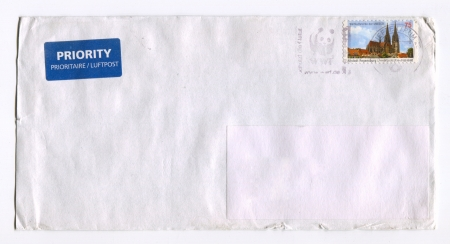 GERMANY - CIRCA 2012: Mailing envelope with postage stamps dedicated to Altstadt Regensburg, circa 2012.