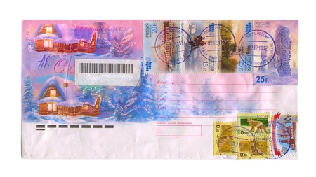 RUSSIA- CIRCA 2012: Mailing envelope with postage stamps dedicated to Sochi and animals, circa 2012.