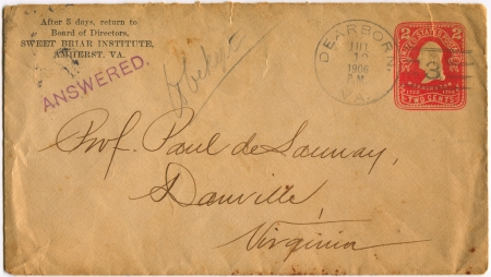 USA - CIRCA 1906: Mailing envelope with postage stamps dedicated to G. Washington, circa 1906.