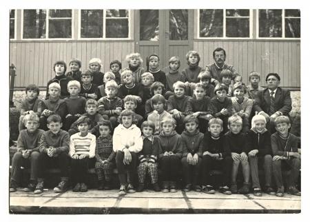 USSR - CIRCA 1970: Vintage photo of a group schoolboys, circa 1970.