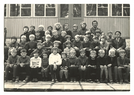 USSR - CIRCA 1970: Vintage photo of a group schoolboys, circa 1970.