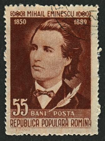 RUMANIA - CIRCA 1958: sellos de correos dedicados a Mihai Eminescu (1885 - 1889), poeta rumano, novelista y periodista, alrededor del año 1958.