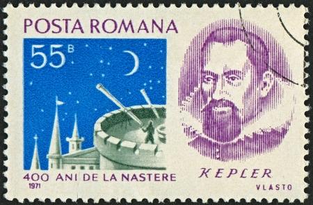 astrologer: ROMANIA - CIRCA 1971: Postage stamps dedicated to Johannes Kepler (1571 - 1630), German mathematician, astronomer and astrologer, circa 1971.  Editorial