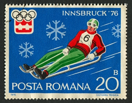 mediaval: ROMANIA - CIRCA 1976: A stamp printed in Romania dedicated to XII Olympic Winter Games (1976) in Austria, circa 1976.